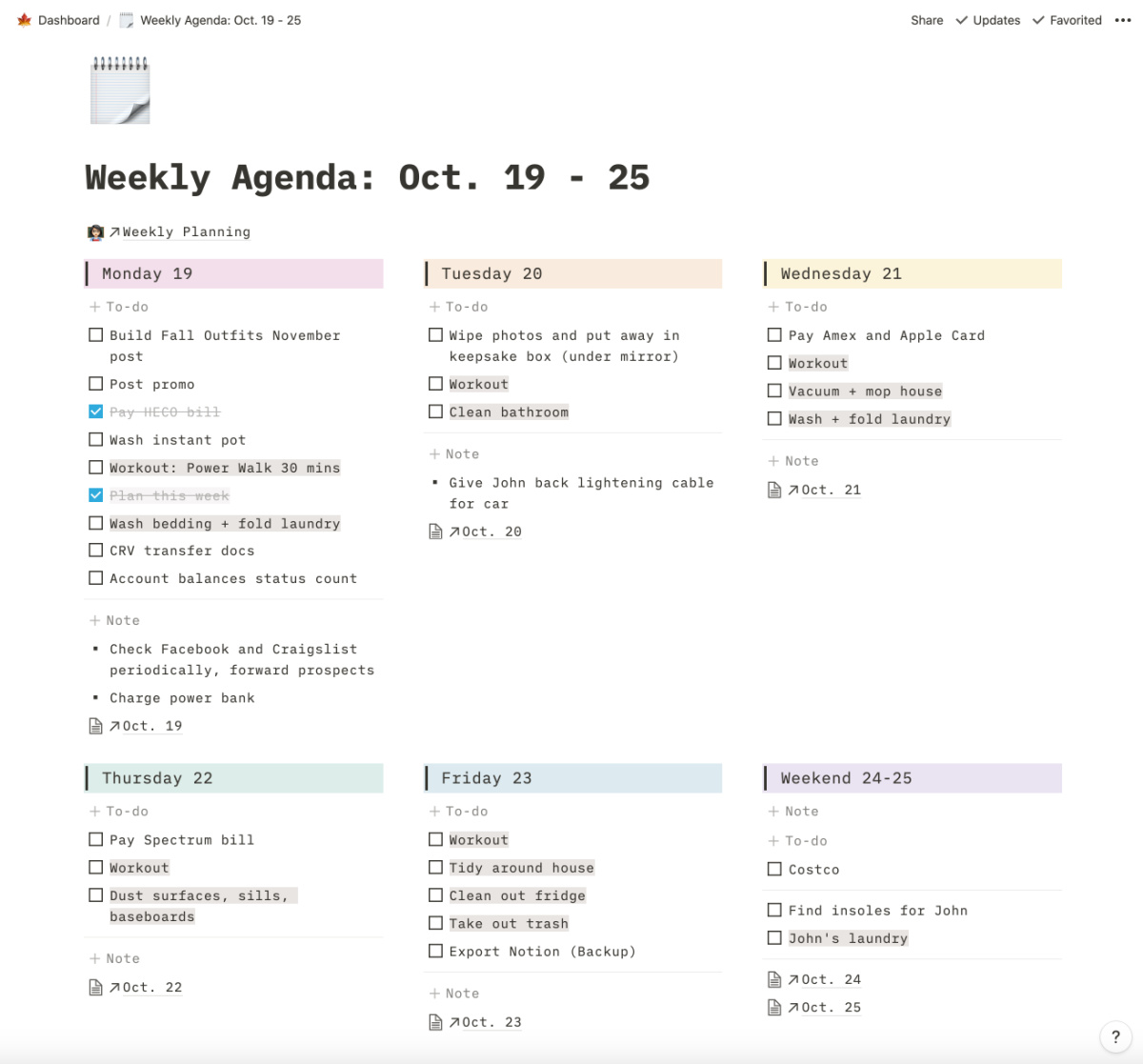Notion Weekly Planner Template
